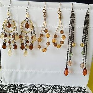 Earrings, neutral palet, 3 pair